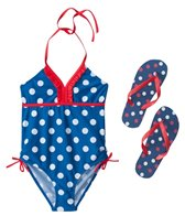 Jump N Splash Girls' Blue Polka Dot One Piece w/FREE Flip Flops (7-14)