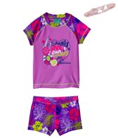 Jump N Splash Girls' Summer Love S/S Rashguard Set w/FREE Goggles (4-12)