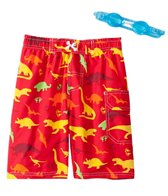 Jump N Splash Boys' Dinosaur Swim Trunk w/FREE Goggles (5-7)