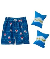 Jump N Splash Boys' Shark Swim Trunk w/FREE Arm Band Floaties (2T-4T)