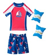 Jump N Splash Boys' Sailboat S/S Rashguard Set w/FREE Arm Band Floaties (2T-4T)
