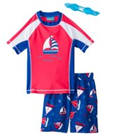 Jump N Splash Boys' Sailboat S/S Rashguard Set w/FREE Goggles (5-7)
