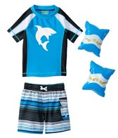 Jump N Splash Boys' Shark S/S Rashguard Set w/FREE Arm Band Floaties (2T-4T)