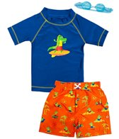 Jump N Splash Boys' Surfin Dino S/S Rashguard Set w/FREE Goggles (5-7)