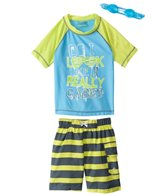 Jump N Splash Boys' Neon Stripe S/S Rashguard Set w/FREE Goggles (4-14)