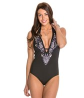 Laundry By Shelli Segal Royals Embroidered One Piece Swimsuit
