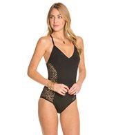 Laundry By Shelli Segal Crochet Rhapsody Criss Cross One Piece Swimsuit