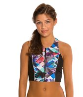 Quintsoul Floral Collage T-Back Crop Bikini Top