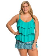 Kenneth Cole Reaction Plus Size Solid Ruffle Tiered Tankini Top
