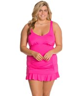 Kenneth Cole Reaction Plus Size Ruffle-Licious Sweetheart Neck Swimdress