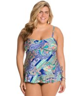 Kenneth Cole Reaction Plus Size Paisley Intuition Blouson Tankini Top