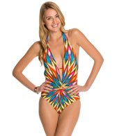 Kenneth Cole Upon The Horizon Halter Plunge One Piece Swimsuit