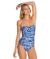 Kenneth Cole Electric Stripe Twist Bandeau One Piece Swimsuit