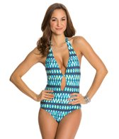 Kenneth Cole Ikat In The Act Halter One Piece Swimsuit