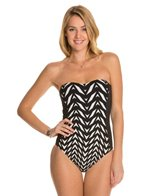 Kenneth Cole Optical Illusion Bandeau One Piece Swimsuit