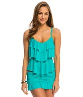 Kenneth Cole Reaction Solid Ruffle Tiered Tankini Top