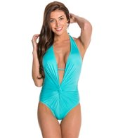 Kenneth Cole Plunge Solid Mio One Piece Swimsuit