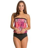 Jantzen Wild Blooms Flirty Girl Blouson Bandeau One Piece Swimsuit