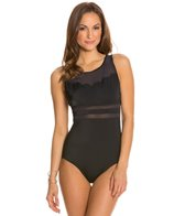 Jantzen Solid Scallop High Neck One Piece Swimsuit