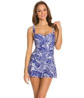 Jantzen Palm Reader Shirred Flounce Swim Dress