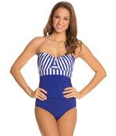 Jantzen Harbour Beauty Stripe Wrap Up Bandeau One Piece Swimsuit