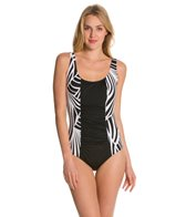 Jantzen Abstract Imprint Shape Up One Piece Swimsuit