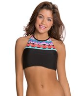 Hobie Deco Stripe High Neck Crop Bikini Top