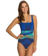 Gottex Emerald Boa Square Neck Tank One Piece Swimsuit