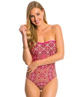 Jessica Simpson Gypsy Life Braid Back Bandeau One Piece Swimsuit