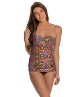 Jessica Simpson Folkloric Underwire Shirred Swimdress