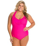 Jessica Simpson Plus Size Desert Fringe Halter One Piece Swimsuit