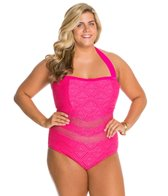 Jessica Simpson Plus Size Cut Out Crochet Bandeau One Piece Swimsuit