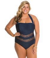 Jessica Simpson Plus Size Cut Out Crochet Bandeau One Piece