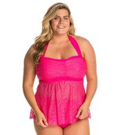 Jessica Simpson Plus Size Cut Out Crochet Bandeau Tankini