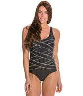 Jones New York Crisscross Bandage Tank One Piece Swimsuit