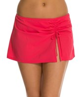 Profile by Gottex Solid Side Shirred Swim Skirted Bikini Bottom