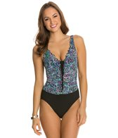 Profile by Gottex Vitrage V-Neck Shirred Mio One Piece Swimsuit