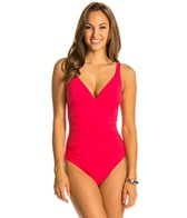 Profile by Gottex Solid V-Neck D-Cup One Piece Swimsuit