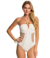 Red Carter Spacenet Mesh Bandeau One Piece Swimsuit