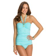 BLEU Rod Beattie Totally Tubular Solid Bandeau Retro One Piece Swimsuit