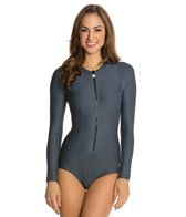 Next Good Karma Solid Malibu Zip L/S One Piece Swimsuit