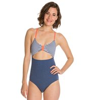 Splendid Sporty Blues Peek A Boo One Piece Swimsuit