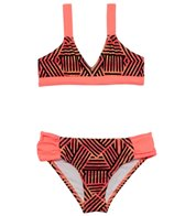 Hurley Girls' Basket Weave Triangle Top Tab Side Bottom Bikini Set (7yrs-14yrs)