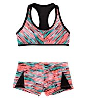 Hurley Girls' Static Crop Top Boy Short Bottom Bikini Set (7yrs-14yrs)