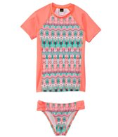 Hurley Girls' Phoenix Surf S/S Rashguard Set (7yrs-14yrs)