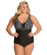 Delta Burke Plus Size Bubble Pop Lace Up Mio One Piece