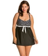 Delta Burke Plus Size Bubble Pop Scoopneck Swimdress One Piece Swimsuit