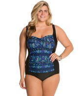 Delta Burke Plus Size Casablanca Shirred Twist Mio One Piece