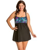 Delta Burke Plus Size Animal Garden Peasant Swimdress One Piece Swimsuit