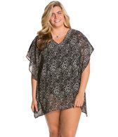 Delta Burke Plus Size Zebratastic Cover-Up W/ Beaded Detail